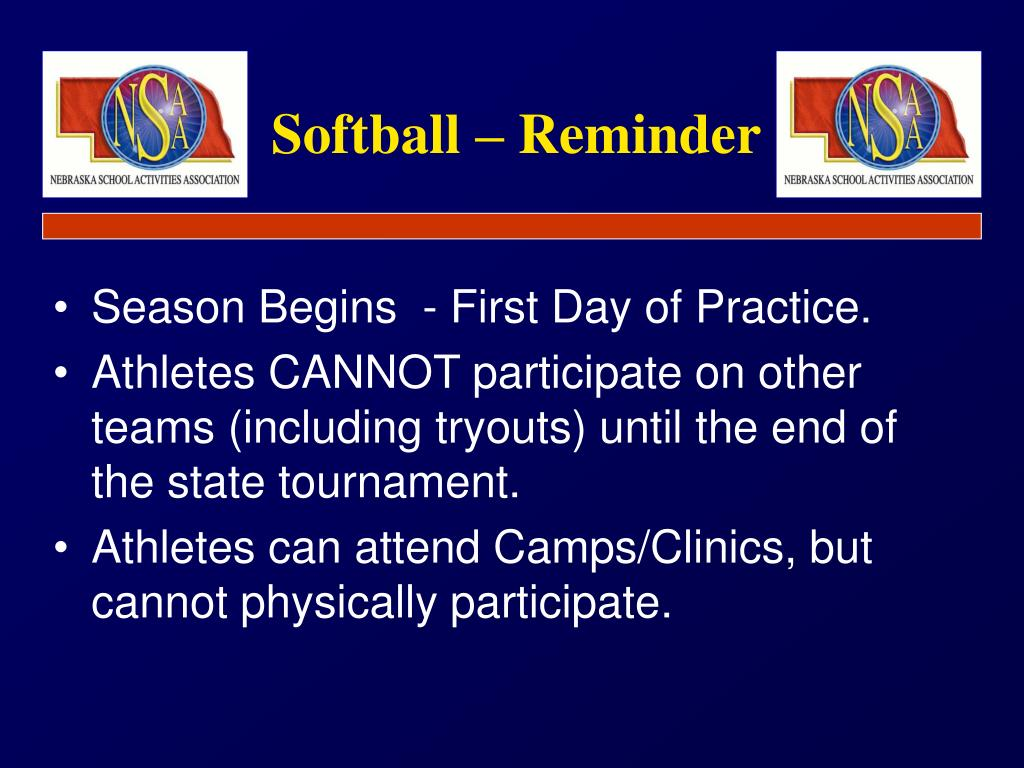 Softball – Reminder
