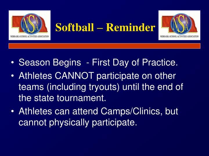 Softball reminder