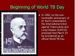 beginning of world tb day