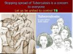 stopping spread of tuberculosis is a concern to everyone let us be united to control tb