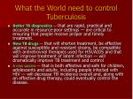 what the world need to control tuberculosis