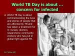 world tb day is about concern for infected
