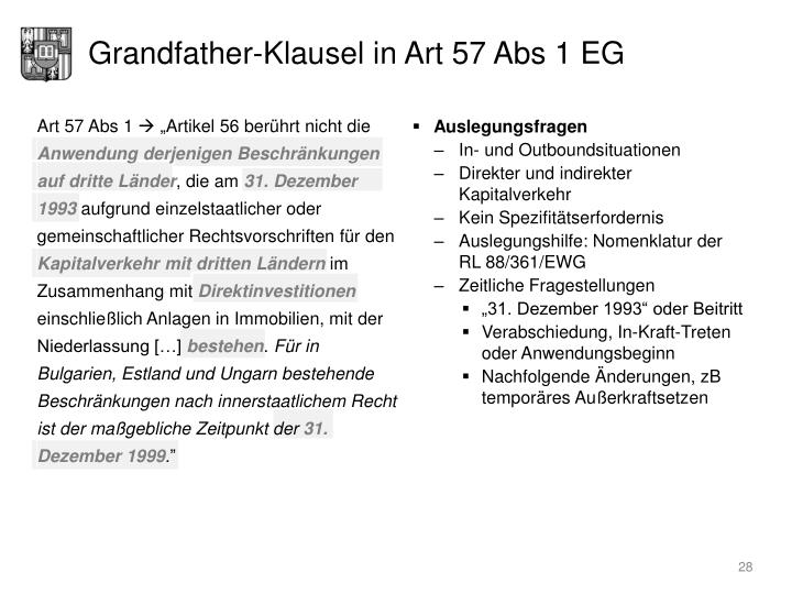Grandfather-Klausel in Art 57 Abs 1 EG