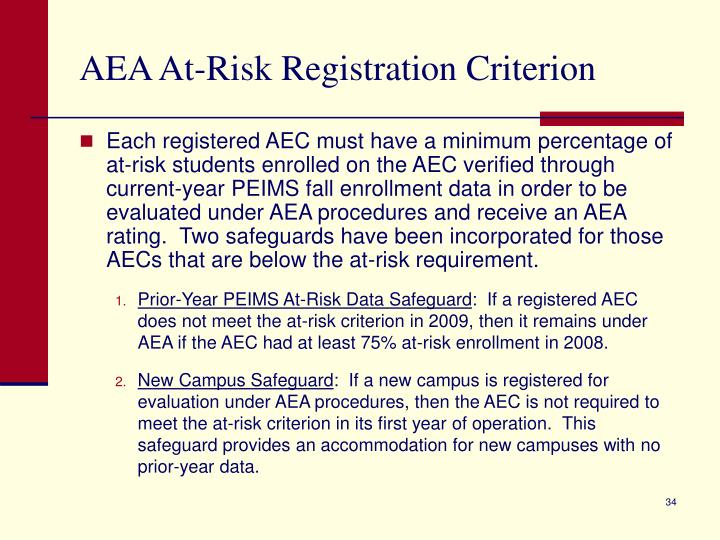 AEA At-Risk Registration Criterion