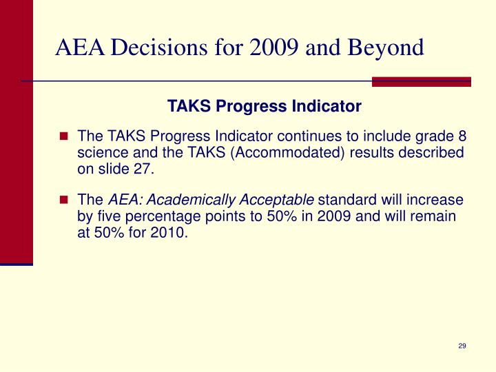 AEA Decisions for 2009 and Beyond