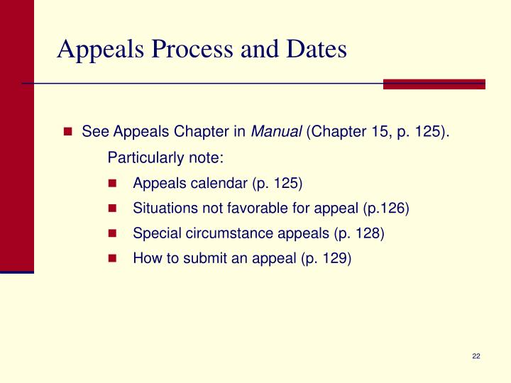 Appeals Process and Dates