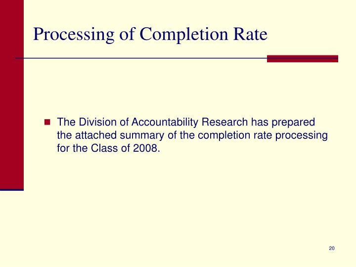 Processing of Completion Rate