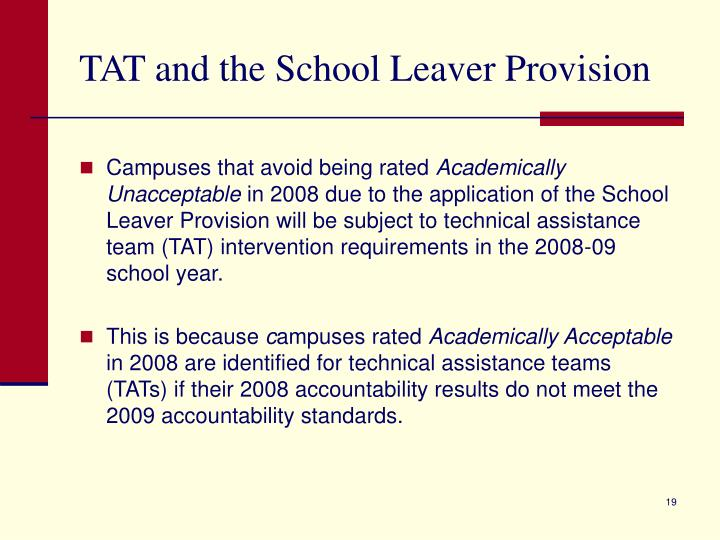 TAT and the School Leaver Provision