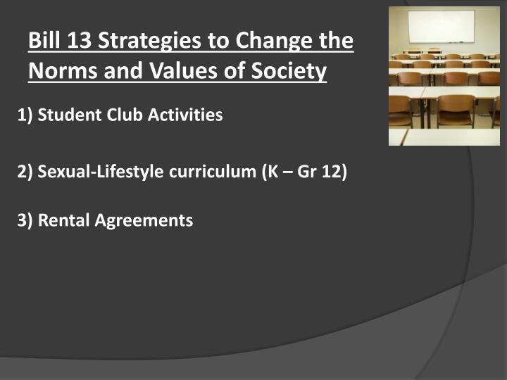 Bill 13 Strategies to Change the Norms and Values of Society