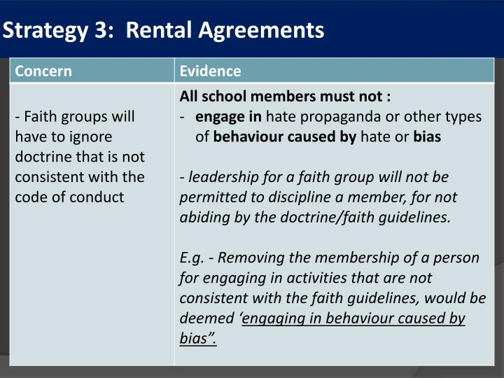 Strategy 3:  Rental Agreements