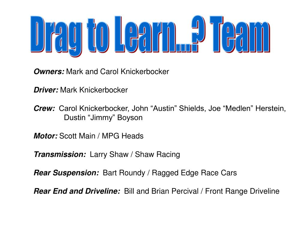 Drag to Learn...? Team