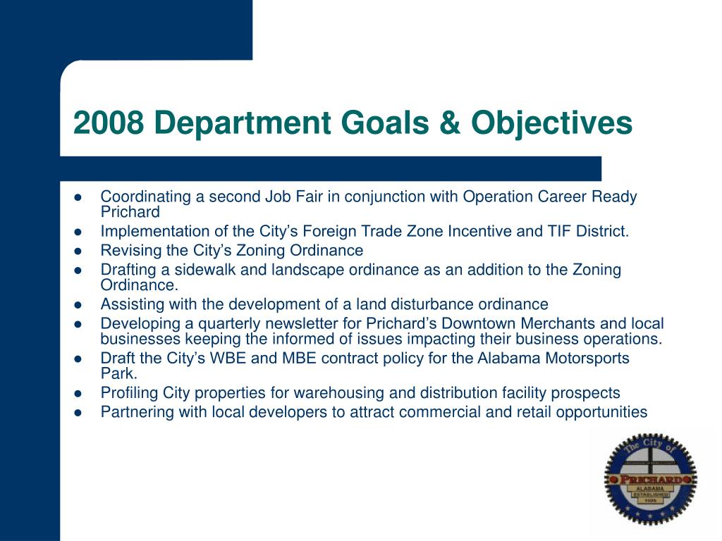 2008 Department Goals & Objectives