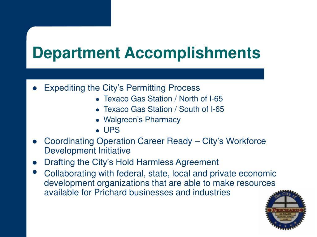 Department Accomplishments