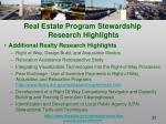 real estate program stewardship research highlights1