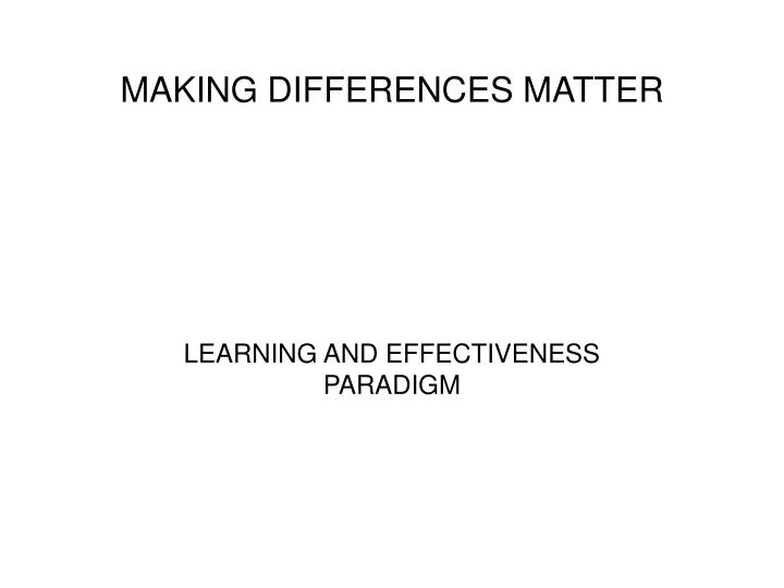 making differences matter n.