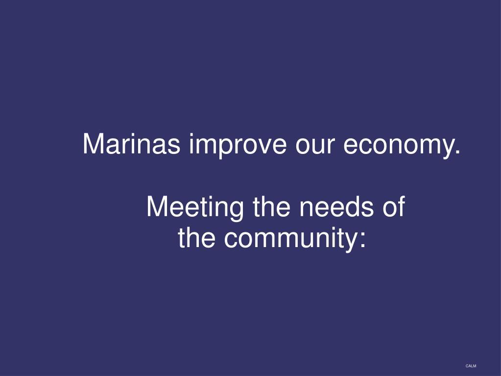 Marinas improve our economy.