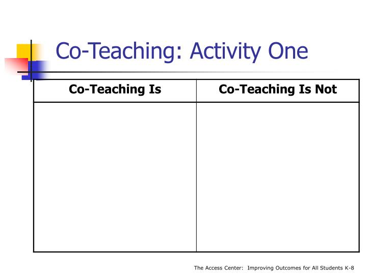 Co-Teaching: Activity One