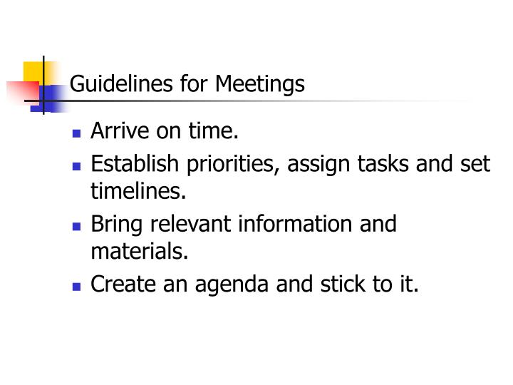 Guidelines for Meetings