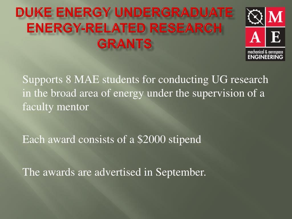 Duke Energy Undergraduate Energy-Related Research Grants