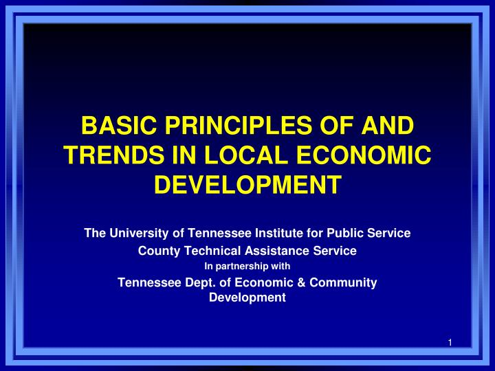 basic principles of and trends in local economic development n.