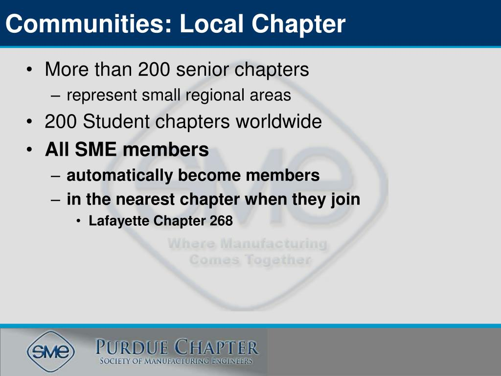 Communities: Local Chapter