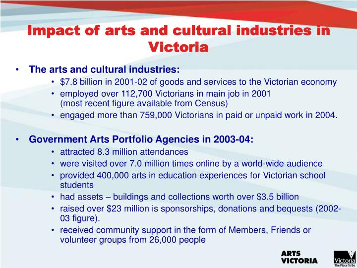 Impact of arts and cultural industries in Victoria
