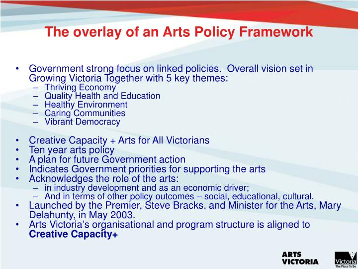 The overlay of an Arts Policy Framework