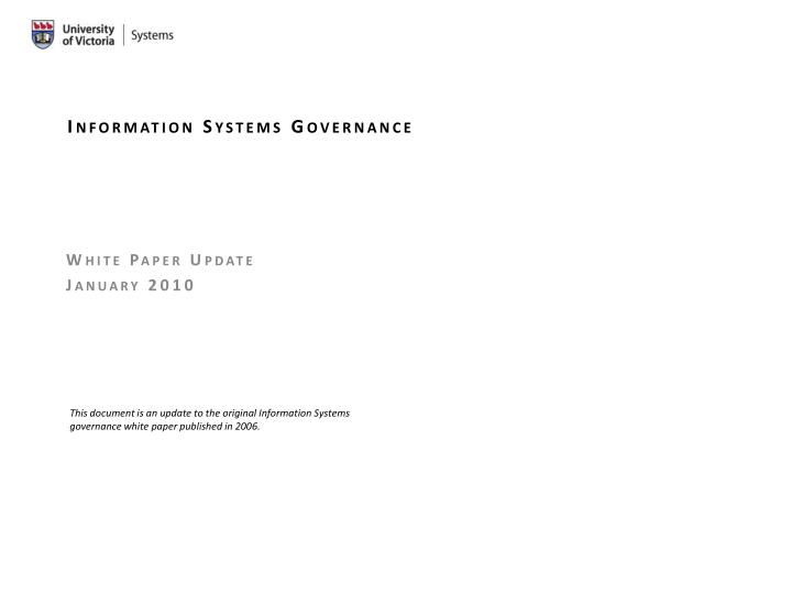 information systems governance n.
