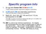 specific program info