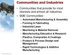 communities and industries