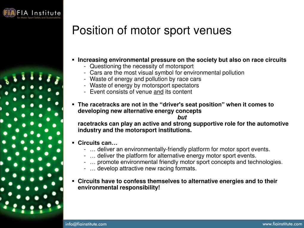 Position of motor sport venues