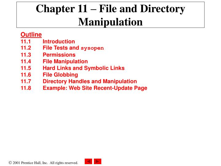 Chapter 11 file and directory manipulation