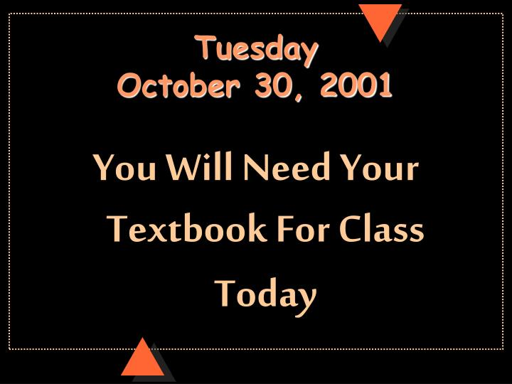 tuesday october 30 2001 n.