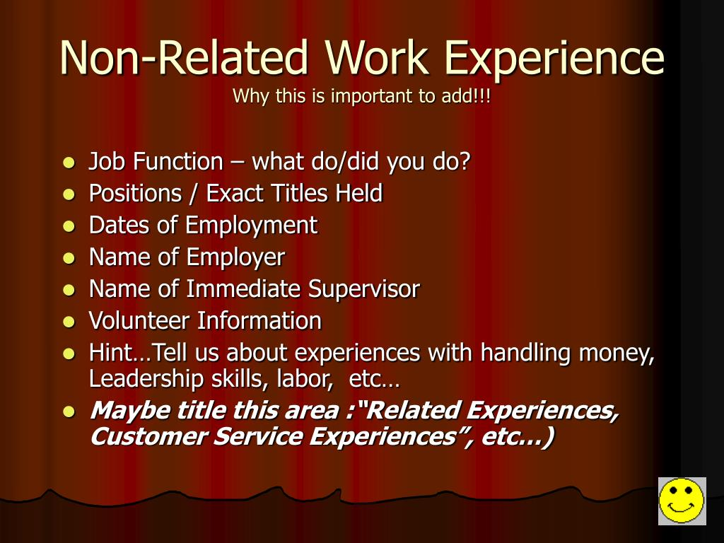 Non-Related Work Experience