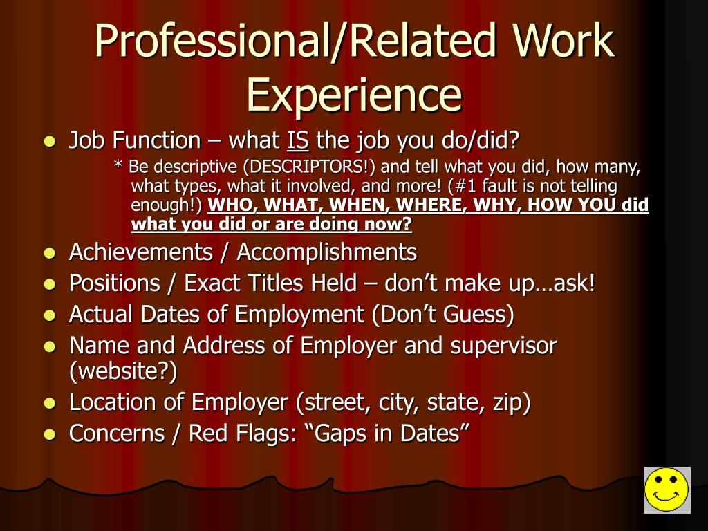 Professional/Related Work Experience