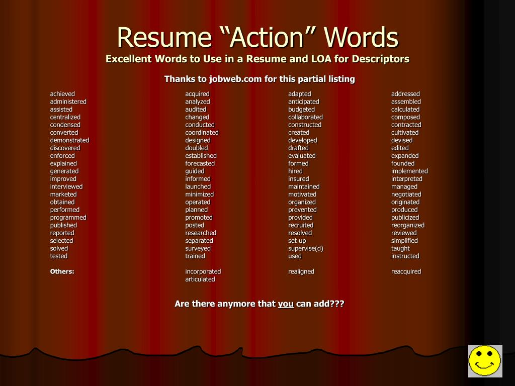 """Resume """"Action"""" Words"""