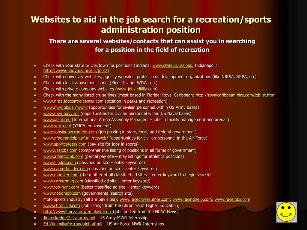 Websites to aid in the job search for a recreation/sports administration position