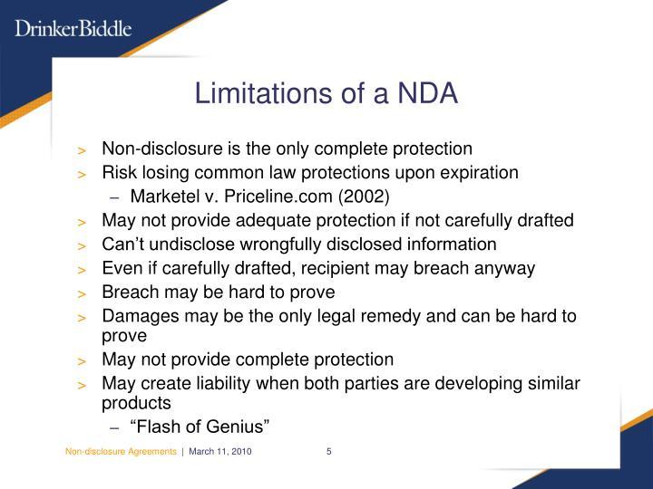 Limitations of a NDA