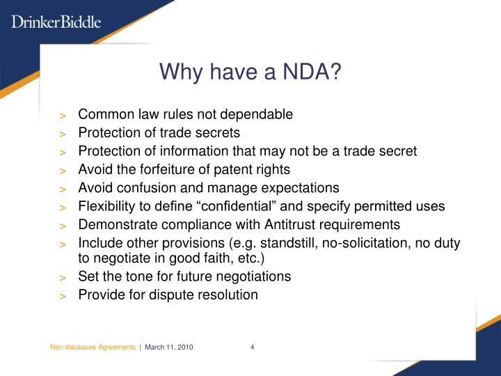Why have a NDA?