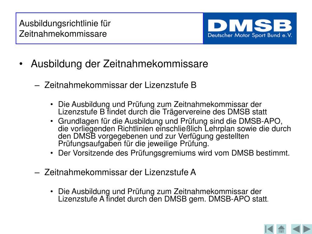 Ausbildungsrichtlinie für Zeitnahmekommissare