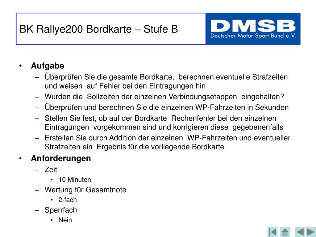 BK Rallye200 Bordkarte – Stufe B