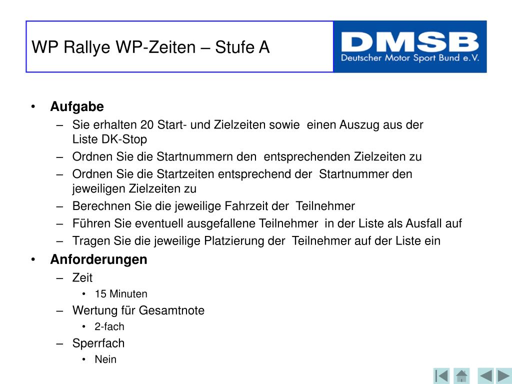 WP Rallye WP-Zeiten – Stufe A