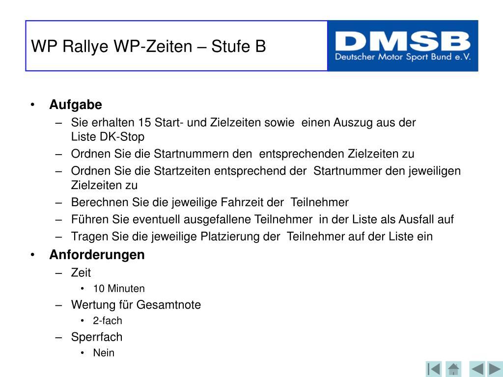 WP Rallye WP-Zeiten – Stufe B