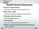 health choice resources