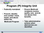 program pi integrity unit