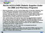 roche accu chek diabetic supplies under the dme and pharmacy programs