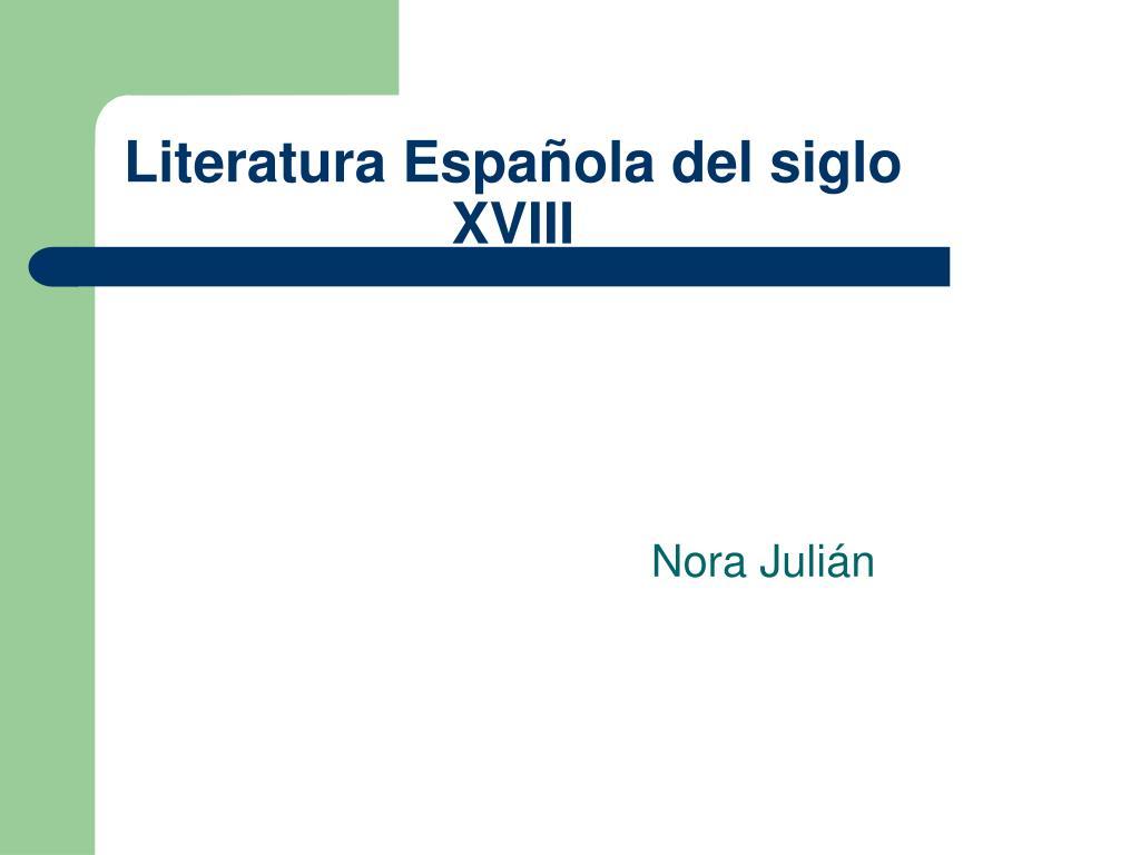 literatura espa ola del siglo xviii l.