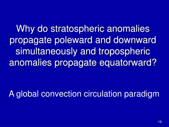 Why do stratospheric anomalies propagate poleward and downward simultaneously and tropospheric anomalies propagate equatorward?