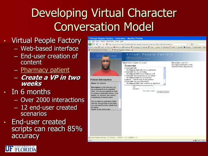 Developing Virtual Character Conversation Model