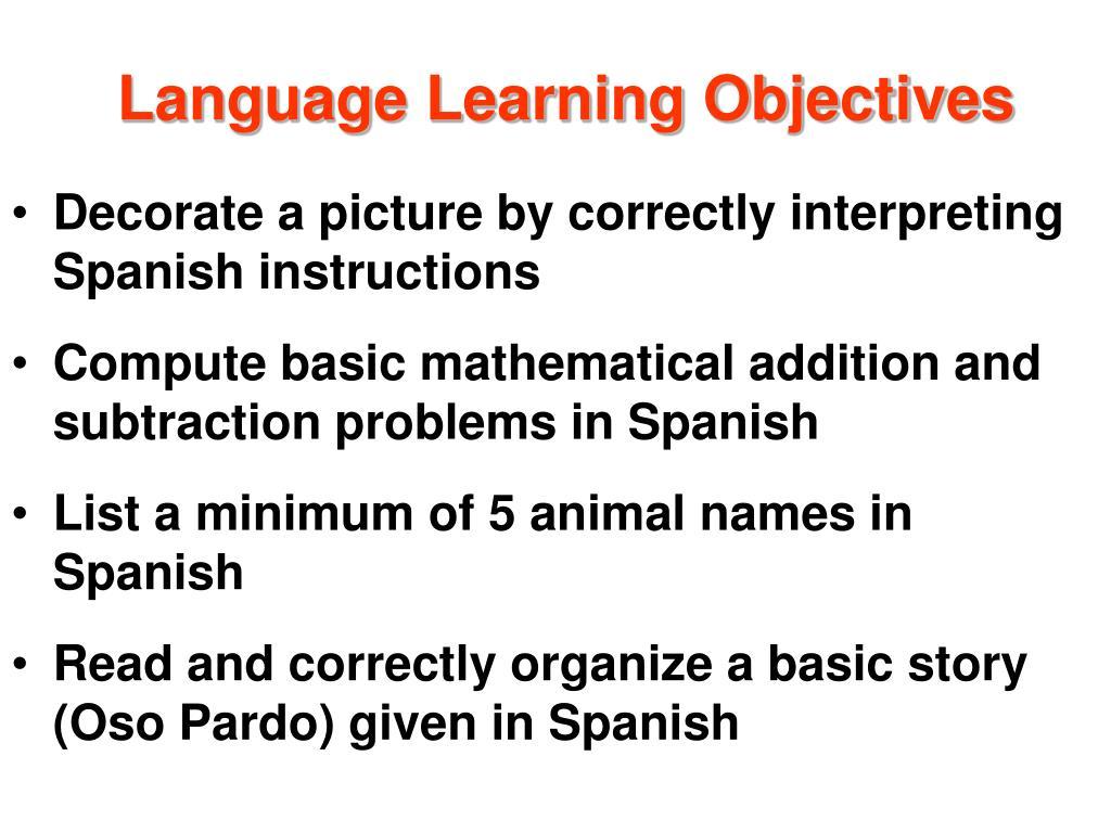 Language Learning Objectives